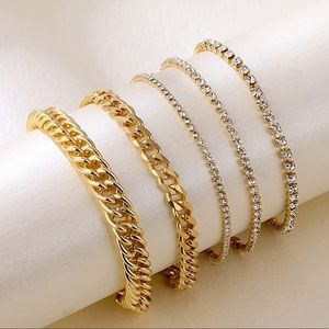 Tennis CZ Crystal Bracelets 14K Gold Plated New